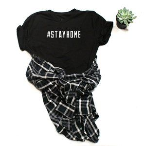 STAY HOME graphic customized tee shirt